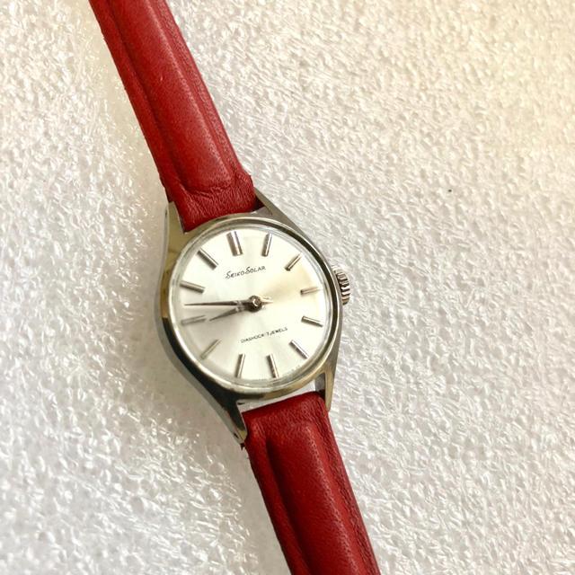 SEIKO(セイコー)のアンティークウォッチ 真っ赤なカーフベルト セイコーソーラー 1967年 レディースのファッション小物(腕時計)の商品写真