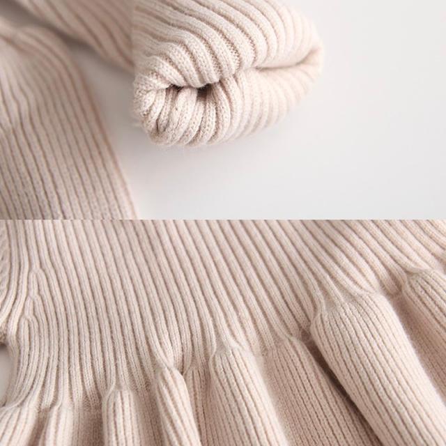 petit main(プティマイン)の新品未使用 韓国子供服 リブニットワンピース キッズ/ベビー/マタニティのキッズ服女の子用(90cm~)(ワンピース)の商品写真