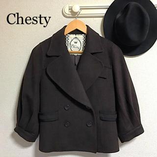 Chesty - Chesty チェスティ ギャザースリーブ ピーコート 茶 1 ウール カシミヤ