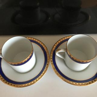 Tiffany & Co. - ティファニー  BLUE BAND デミタスカップ&ソーサー 2客セット
