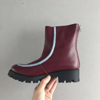 マルニ(Marni)のsale ⚫︎MARNI⚫︎ バーガンディと水色のブーツ 38(ブーツ)