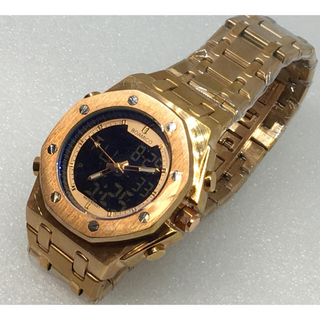 重厚美麗 ヴィンテージ 高級デジアナ デュアルディスプレイ ローズゴールド(腕時計(デジタル))