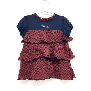 familiar - 女の子 半袖 Tシャツ カットソー フリル チェック サイズ 110 コットン