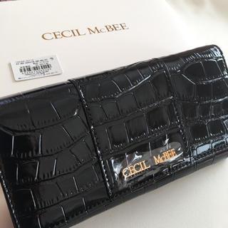 CECIL McBEE - 新品 セシルマクビー クロコ型 長財布 ウォレット ブラック 黒