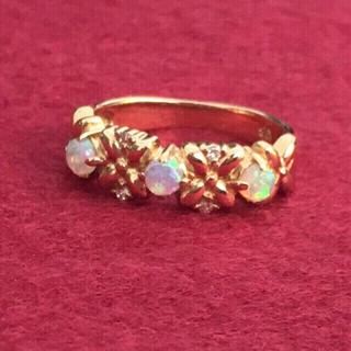 ☆✴︎ヴィンテージ K18 オパール  ダイヤ お花 リング✴︎☆(リング(指輪))