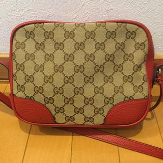 Gucci - GUCCI グッチ キャンバス  ショルダー バッグ ポシェット 極美品 赤