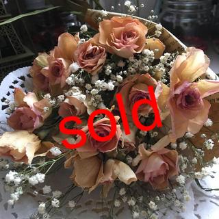 ピンクのバラとかすみ草のアンティークなドライフラワー☆大幅値下げ中‼️(ドライフラワー)