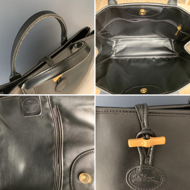 LONGCHAMP(ロンシャン)の【フランス製・A4対応】◆ LONGCHAMP 本革 レザー ロゾ ブラック◆ レディースのバッグ(トートバッグ)の商品写真