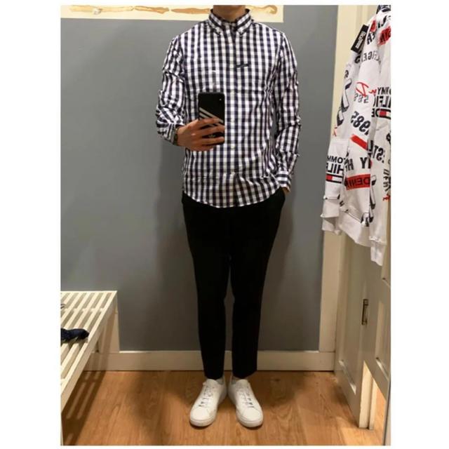 TOMMY HILFIGER(トミーヒルフィガー)の新品 トミーヒルフィガー チェックシャツ メンズ ネイビー ビジネス メンズのトップス(シャツ)の商品写真