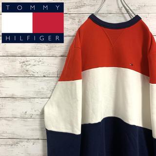 TOMMY HILFIGER - 希少 古着 90s トミーヒルフィガー スウェット トレーナー フラッグ刺繍ロゴ