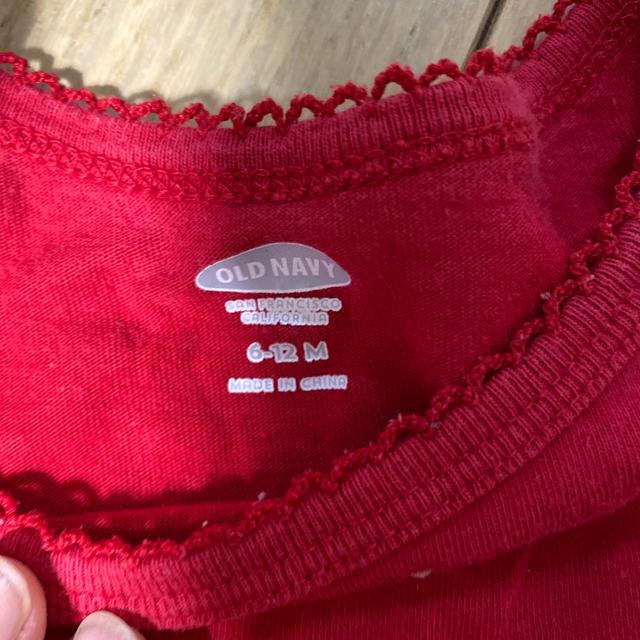 Old Navy(オールドネイビー)の赤水玉ドット柄 オールドネイビー七分袖ワンピースチュニック6-12M キッズ/ベビー/マタニティのベビー服(~85cm)(ワンピース)の商品写真