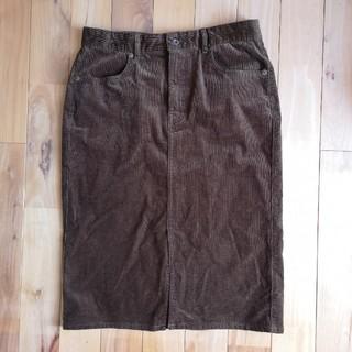 ジーユー(GU)のGU コーデュロイ タイトスカート XL ブラウン(ひざ丈スカート)