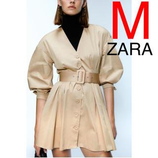 ZARA - ZARA ベルト付き ワンピース チュニック シャツ ブラウス フリル