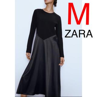 ZARA - ZARA コンビ素材 ワンピース フリル レース ブラック