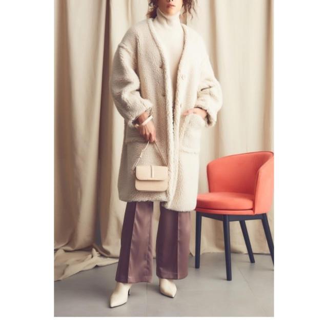Mila Owen(ミラオーウェン)のMilaOwen ノーカラーステッチワークボアコート レディースのジャケット/アウター(その他)の商品写真