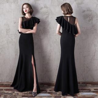 黒 ワンショルダー フリル キャバドレス ワンピ ドレス セクシー ブラック