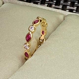 レッドストーン×ホワイトダイヤ☆フルエタニティリング☆10〜11号☆ジルコニア(リング(指輪))