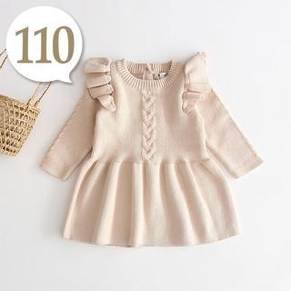 100cm~110cm|ベージュ〔肩フリルニットワンピース〕女の子 子供服(ワンピース)