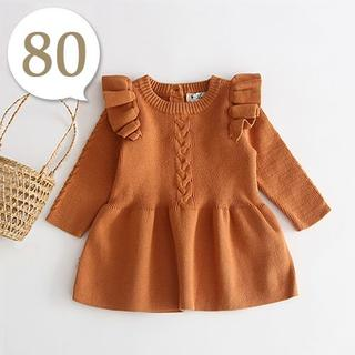 70cm~80cm|キャメル〔肩フリルAラインニットワンピース〕女の子 ベビー服