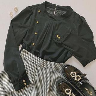 evelyn - 薔薇フリルハイネックトップス ブラック