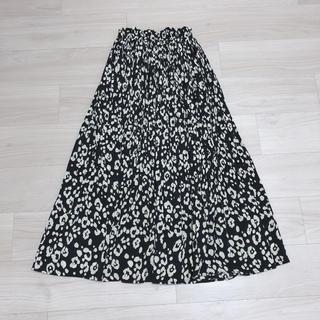 レオパード柄プリーツスカート ロングスカート