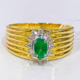 K18 PT900 エメラルド ダイヤモンド コンビリング(リング(指輪))