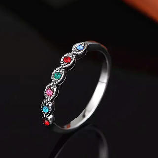 アンティーク調 多色石マルチカラークリスタルリング(リング(指輪))