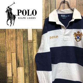POLO RALPH LAUREN - 【激レア】ポロラルフローレン☆エンブレム刺繍ロゴ太ボーダーラガーシャツ 90s