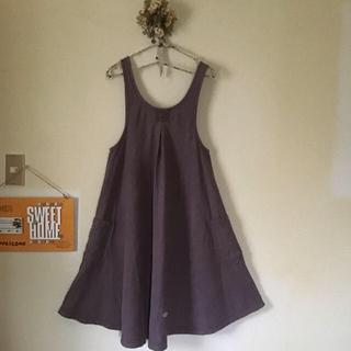 スタディオクリップ(STUDIO CLIP)のスタディオ  クリップ ジャンバースカート リネン100   ミナペルホネン刺繍(ロングスカート)