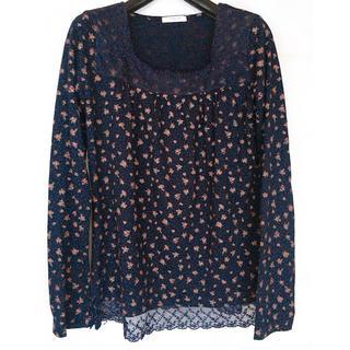 HONEYS - ネイビー 小花柄 長袖 カットソー  Mサイズ 裾レース