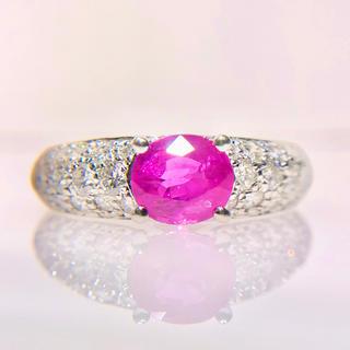 1ct ダイヤモンド 1.7ct ピンク サファイヤ プラチナ リング(リング(指輪))