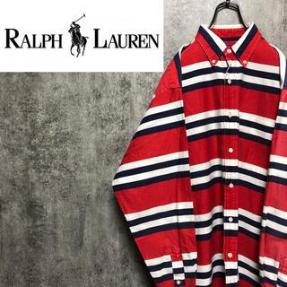 Ralph Lauren - 【激レア】ラルフローレン☆ワンポイント裾刺繍ロゴトリコロールマルチボーダーシャツ