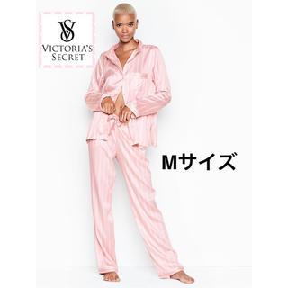 ヴィクトリアズシークレット(Victoria's Secret)のヴィクトリアシークレット サテン ロゴ パジャマ M【新品】【即日発送】(パジャマ)
