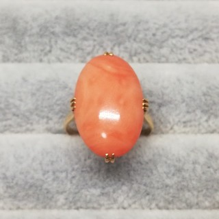 K18 大粒 珊瑚 リング 15号 ヴィンテージ レトロ(リング(指輪))