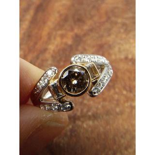 このデザイン!人気のブラウンダイヤ!Pt900/K18ダイヤリング 12.5号(リング(指輪))