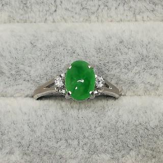 翡翠 pt850 プラチナ ダイヤモンド リング ジェダイト(リング(指輪))