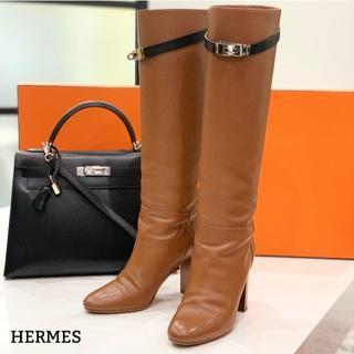 エルメス(Hermes)の1358 美品 エルメス ケリー ロングブーツ 茶(ブーツ)