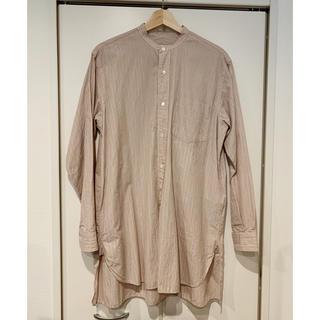 COMOLI - comoli バンドカラーシャツ ピンクストライプ 2 美品