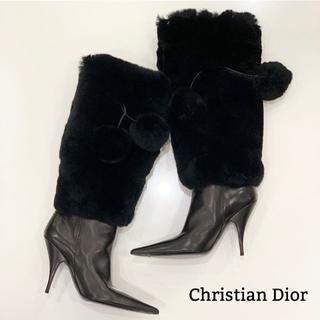 ディオール(Dior)の450 美品 ディオール ファー ロングブーツ 黒(ブーツ)