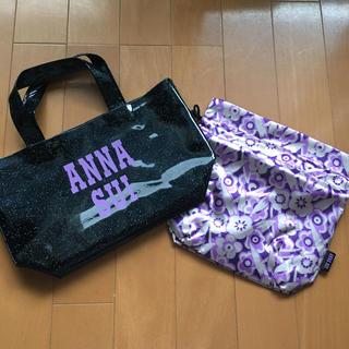 アナスイ(ANNA SUI)の新品未使用 アナスイ 巾着付き ハンドバッグ ラメ エナメル ビニール(ハンドバッグ)