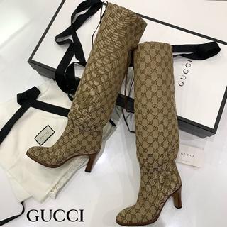 グッチ(Gucci)の1198 新作 新品 グッチ GGキャンバス ロングブーツ 茶(ブーツ)