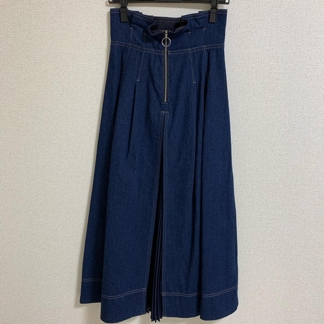 MERCURYDUO(マーキュリーデュオ)のマーキュリーデュオ プリーツ切替デニムフレアスカート レディースのスカート(ロングスカート)の商品写真