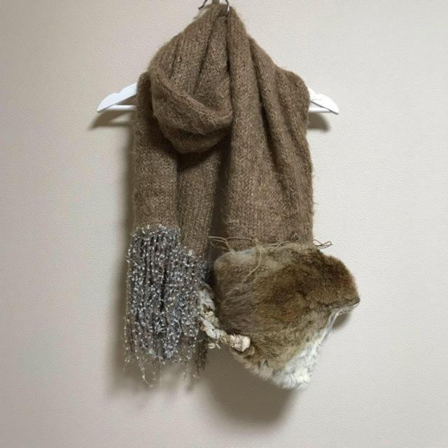 fur fur(ファーファー)のfur fur♡毛皮ベージュデザインマフラー レディースのファッション小物(マフラー/ショール)の商品写真