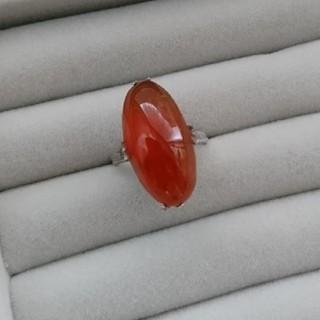 01 昭和レトロ 千本透かし SILVER 赤瑪瑙リング メノウ シルバー(リング(指輪))
