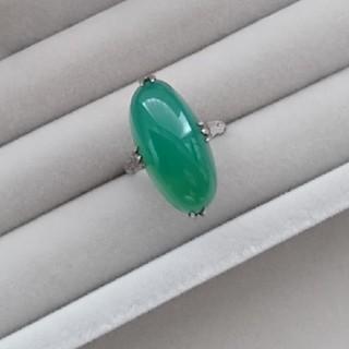 13 昭和レトロ 千本透かし緑瑪瑙 リング グリーン 指輪 アンティーク(リング(指輪))