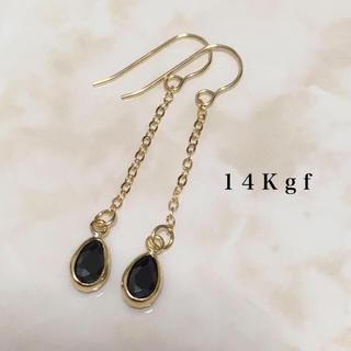 ete - 14Kgf/K14gf ブラックスピネルチェーンピアス/天然石ピアス ゴールド