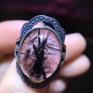 【天然】ブラックルチルクォーツ リング s925 (リング(指輪))