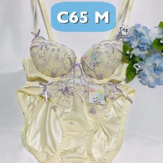 【送料込み】C65 M  薄紫リボン刺繍 薄黄色 ブラジャーとショーツ