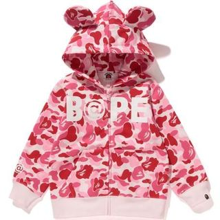 A BATHING APE - 110BAPE KIDS ABC BE@R ZIP HOODIE