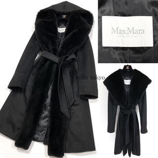 Max Mara - マックスマーラ 白タグ 毛皮ファー ベルテッド ガウン コート 黒 E1521